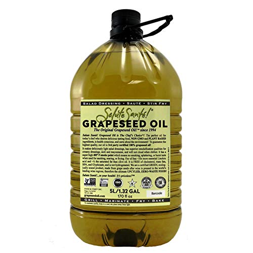 Salute Sante! Grapeseed Oil for High Temperature Cooking, Healthy Grape Seed Oil, Non-GMO and Kosher for Salad Dressings, Marinades and Dips (5 Liter)