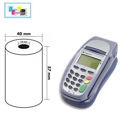 Pack de 50 rollos de papel para caja registradora térmica para impresión Tarjeta de crédito recibos, tamaño 57 x 40 x 12 mm