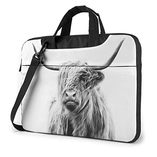 13-15.6 Inch Laptop Sleeve Case Highland Cow Laptop Shoulder Bag with Strap Compatible
