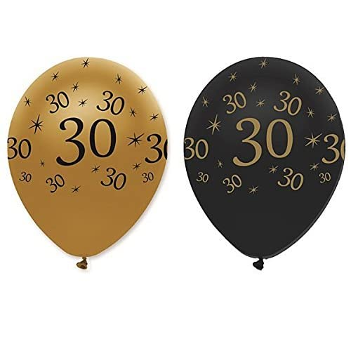 30th Black Gold Balloons 6pk