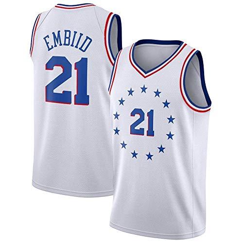 WOLFIRE SC Camiseta de Baloncesto para Hombre, NBA, Philadelphia 76ers 21# Joel Embiid. Bordado, Transpirable y Resistente al Desgaste Camiseta para Fan
