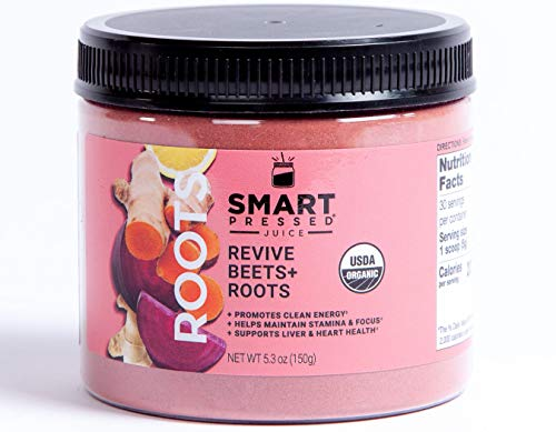 Smart Pressed Juice Revive Beets & Roots | Healthy Pre-Workout Substitute & Energy Boost with Nitric Oxide | Turmeric, Ginger, Carrots, Rhodiola, Lemon & Kale | USDA Organic & Made in the USA