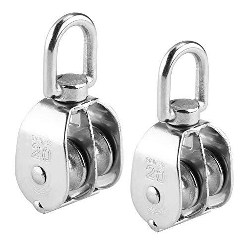 M20 Silber Einzel Flaschenzug 304 Edelstahl Riemenscheibe Roller für Wäscheleine Seile 2ST
