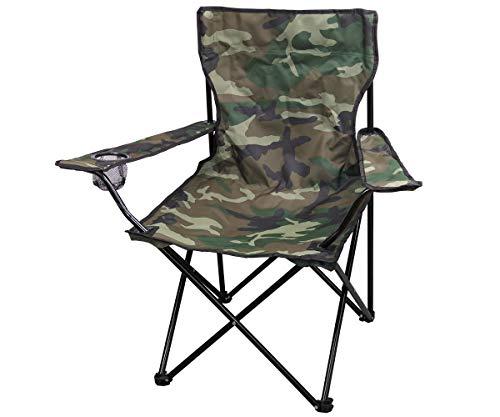 Commando Industries Chaise Pliante d'extérieur avec Dossier et Porte-Bouteilles (Woodland)