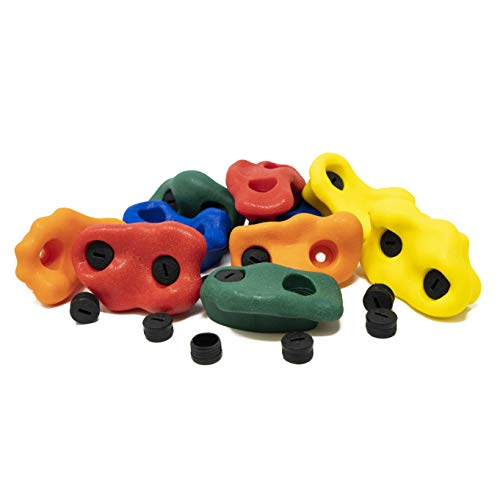 """Squirrel Products Kids Rock Climbing Holds with Safety Rock Plugs to Protect Little Fingers - 10 Pack - Includes Hardware for 1"""" Installation Idaho"""