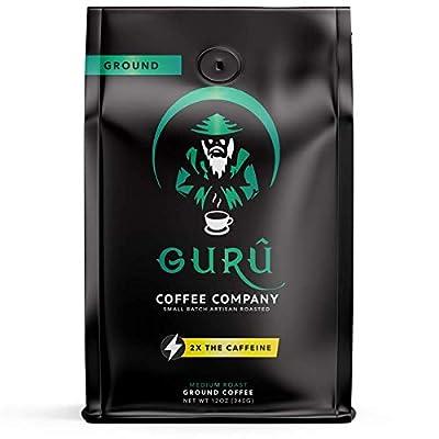 Guru Coffee Company High Caffeine Medium Roast Ground Coffee, Natural Energy From Premium Gourmet Specialty Grade Beans, 12 ounce