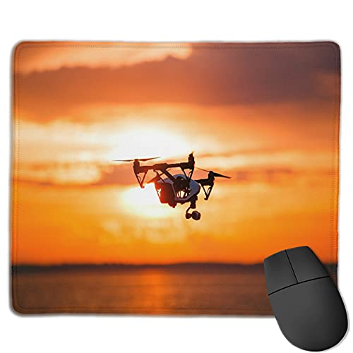 Gaming Mouse Pad Benutzerdefiniert,Quadrocopter Drone Remote Control Dunkle Silhouette,Office Rectangle rutschfeste Gummi-Mauspad für Computer Laptop 9.8