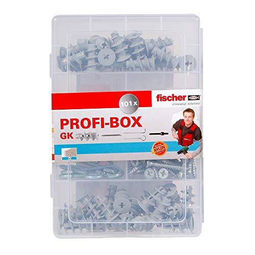 Fischer 518528 Meister-Box Gipskartondübel GK + Schrauben + Haken + Setzwerkzeug, Dübel und Schrauben Set, 101 Teile