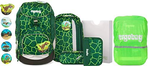 ergobag Pack BärRex Schulrucksack-Set 6tlg. + Regencape Grün