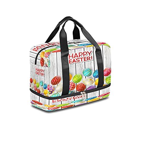 LIFE5LCL Festival Uova di Pasqua Sport Duffel Borse 16.14*8.27*11.81 Pollice Gym Bag Viaggio Duffel Borse per Uomini Donne