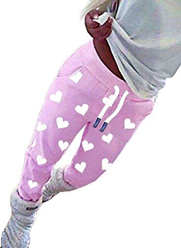 ZAHIDA Damen Hose Jogginghose Trainingshose Fitnesshose Schlafhose Schlafanzug-Hose Herz Fitness Joggen Sweatpants (Rose (gr. Herz 001) 4XL