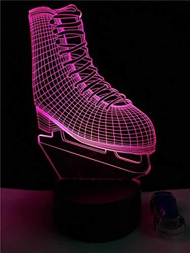 Lámpara LED 3D con diseño de zapato de hielo y patinaje, de acrílico, luz nocturna, para habitación de los niños, multicolor