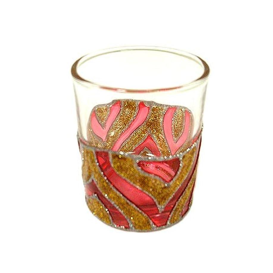 教えて天気アレキサンダーグラハムベルアジアン キャンドルホルダー カップ グラス 花柄 ゴールドレッド アジアン雑貨