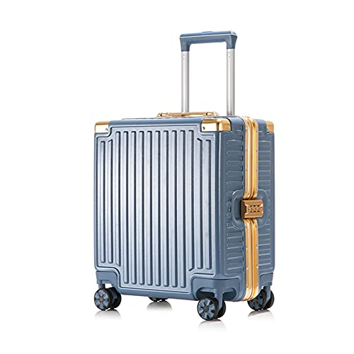 FGHHJ Equipaje pequeño, Caja de Carro, Equipaje de Viaje, Marco de Aluminio Maleta de Carro de cáscara Dura Ligera, con 4 Ruedas universales,Blue Gold