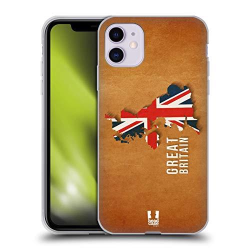 Head Case Designs Gran Bretaña Mapas de Bandera del País Carcasa de Gel de Silicona Compatible con Apple iPhone 11
