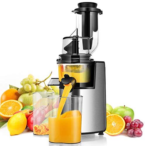 Costway Extractor de exprimidor de 3 pulgadas de ancho con función inversa, máquina exprimidor de prensado en frío para jugo de frutas y verduras de alto nutrientes, motor silencioso de 200 W sin BPA, fácil de limp