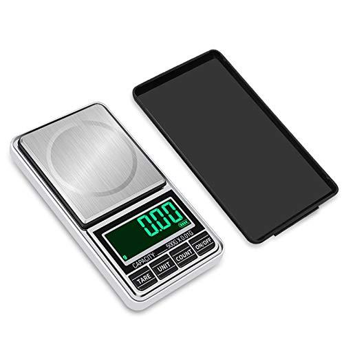 Báscula - Báscula de bolsillo digital Báscula de pesaje de joyería Báscula de pantalla LED portátil de alta precisión Herramienta de equilibrio de peso de carga USB 200g/0.01g - Plata