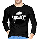 Fishoceany Man Comfortable Crew-Neck Long Sleeve T Shirts Special Design with G-Eazy-i Mean It S Black