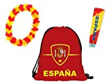 Alsino Promotion: Kit Supporter Espagne Spain FP-22: 3 Accessoires: Sac, Collier et Manche Faux Tatouage La Selección La Furia Roja La Roja La Furia Fútbol de España Idée Cadeau Femme Fille Homme