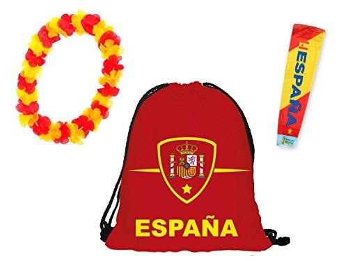Alsino 3 TLG Fanpaket Spanien FP-22 Fanartikel Fussball Fanset Länder Tattoo Rucksack