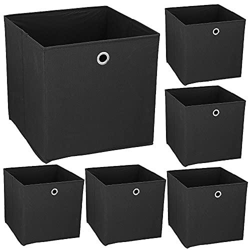 Murago 6er Set Faltboxen ca. 30x30x30 cm Schwarz Würfel Regalkorb Klappbox Aufbewahrungsbox faltbar Körbe Einschub Korb Boxen Stoff Würfel