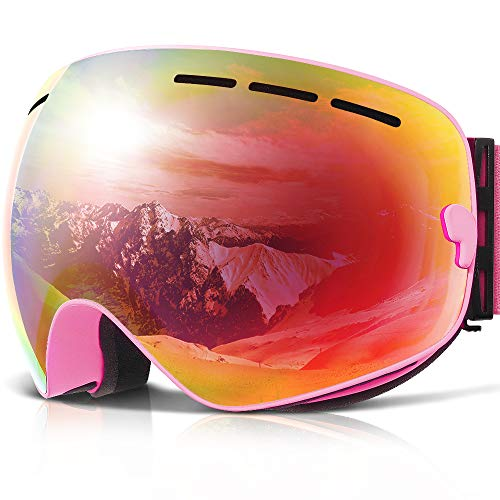 COPOZZ Ski Goggles, G1 OTG Snowboard Snow Goggles for Men Women Youth, Interchangeable Double Layer Anti Fog UV Protection Lens, Polarized Goggles Available (G1-Pink Frame Pink Lens(VLT 52%))