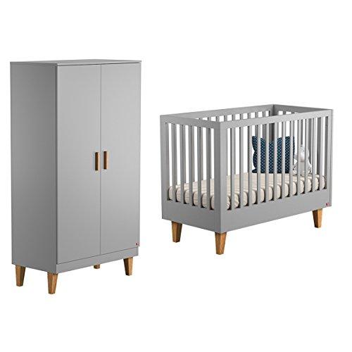 Lit bébé 60x120 et Armoire 2 portes Lounge - Gris