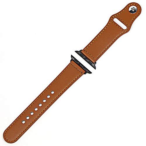 KAAGGF Correa de cuero genuino para Apple Watch Band 42 mm 44 mm Watch 4 5 38 mm 40 mm Iwatch 3/2/1 Correa de repuesto (color de la correa: negro marrón claro, ancho de la correa: 42 mm)