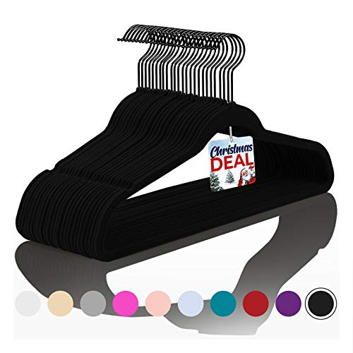 Premium Velvet Hangers Pack of 50 Heavyduty - Non Slip - Velvet Suit Hangers Black - Black Coated HooksSpace Saving Clothes Hangers BlackBlack