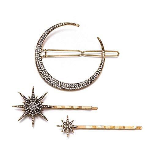 Hot Fashion geometrische sterren maan strass haarspeld haaraccessoires vrouwen haarspeld klauw gereedschap voor set van 3