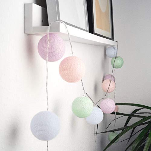 Cadena de luces LED de 20 bolas de algodón de 3 metros con cadena de bolas de algodón para habitación infantil con función de temporizador, Pastel, 3 m