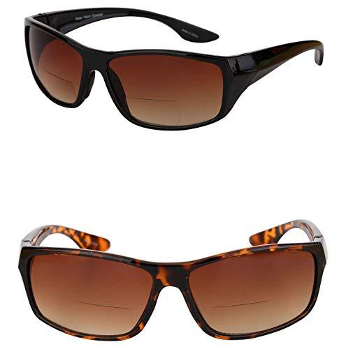 2 Pair of Unisex High Density (HD) Bifocal Driving Sunglasses (Black/Tortoise, 2.0)