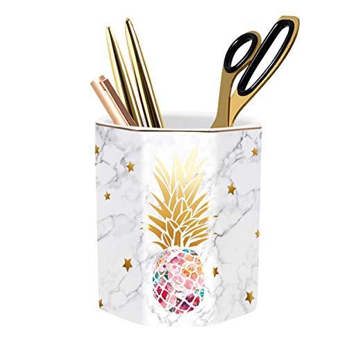 WAVEYU Pen Pencil Holder for Desk, Cute Desk Decor for Girls Women Durable Ceramic Multi-Purposed Desk Organizer Makeup Brush Holder Ideal Gift for Office, Classroom, Home, Pineapple