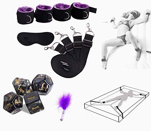 Cintura da yoga con polsino in peluche spessa, mano comoda e cinturino alla caviglia con bastone da badminton viola e dadi in posizione divertente