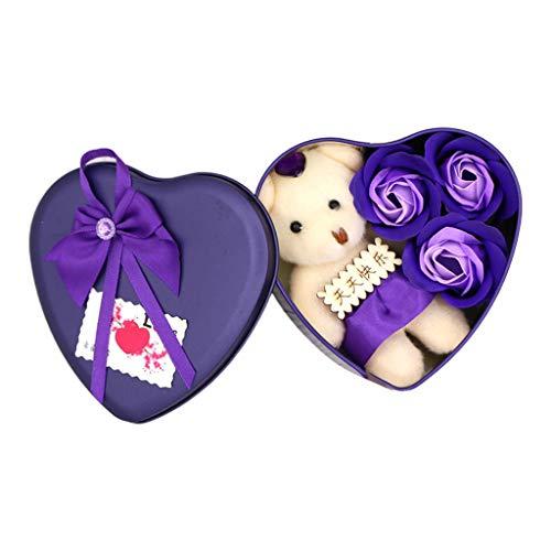 ruiruiNIE Rosenblätter Seife Bad Körper Seife Geschenk für Hochzeiten Valentinstag Geburtstag