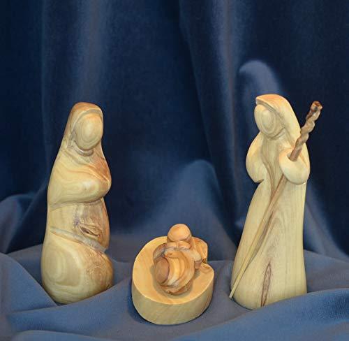 Figura Santa Krippenfiguren MODERNER Stil. 13 cm. Heilige Familie - 3 teilig. Josef, Maria und das Kind in der Krippe. In Bethlehem aus Olivenholz handgeschnitzt.