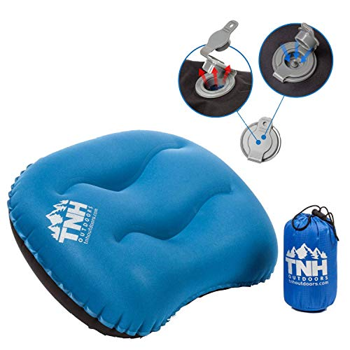 TNH Outdoors Ultralight Inflating Travel Camping Pillows - Compressible, Compact, Inflatable, Comfortable, Ergonomic Pillow for Neck & Lumbar Support and a Good Night Sleep While Camp, Backpacking