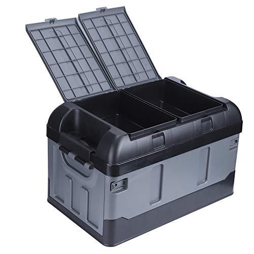 Ejoyous Organizador Plegable para Maletero de automóvil, Caja de Almacenamiento de Maletero de 45 l con Tapa Alta, 2 Compartimentos, Caja de Almacenamiento de plástico Multifuncional para SUV(Negro)