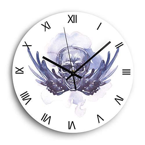 HFWYF 12 Zoll lila Schädel Flügel Wanduhr modernes Design stumm Runde Wohnzimmer Dekoration Uhr römische Ziffern Heimdekoration