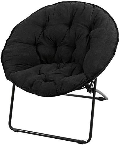 QTQZDD Moon Chair zonneligstoel lunchpauze lazy stoel radar stoel klapstoel Recliner Large Fabric Sofa Chair Round Chair Vrijetijdsstoel Zwart Velvet
