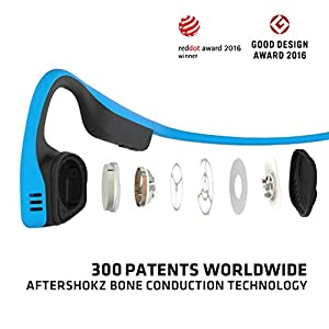 AfterShokz Titanium Bone Conduction Wireless Bluetooth Headphones, Ocean Blue