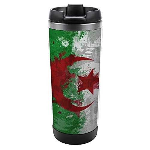 Kaffeetasse mit Algerien-Flagge, Hintergr&, Thermobecher, Edelstahl, umweltfre&lich, doppelwandig, Vakuum, wiederverwendbar, mit Deckel, tragbare Trinkbecher, Reisebecher