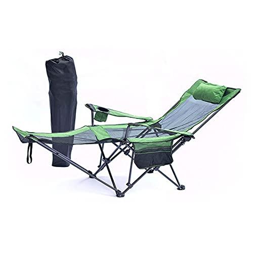 Silla De Camping, Silla De Malla Portátil Plegable para Acampar con Reposapiés, Sillón Reclinable Plegable para Acampar Al Aire Libre, Playa, Viajes, Picnic, Senderismo,Verde