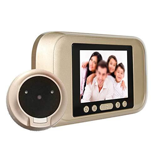 CuteLife Timbre de Video HD Smart Door Viewer Home Electronic Doorbell 3.5 Pulgadas Vigilancia Visual Antirremofo Foto Y Video para Apartamentos Villas (Color : Gold, Size : 15x8.5x2cm)