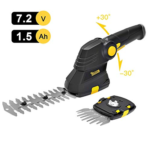 TECCPO 7.2V Cordless Grass Shear & Shrub Trimmer Set 2-in-1, Lightweight Handheld Garden Shears with Lithium-Ion Battery and Quick Charger, Pivoting Handle- TDGS03G
