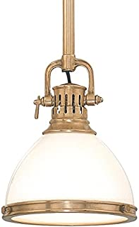 Randolph 1-Light Pendant - Aged Brass Finish with Opal Glossy Glass Shade