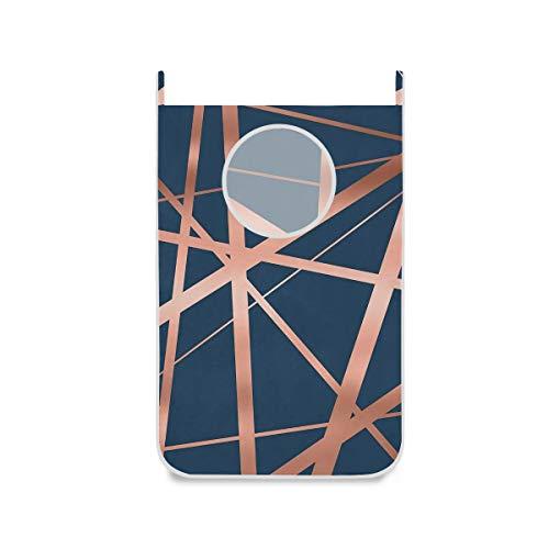 Unbekannt Wäschekorb zum Aufhängen, groß, Marineblau/kupferfarben, mit Haken und starken Saugnäpfen