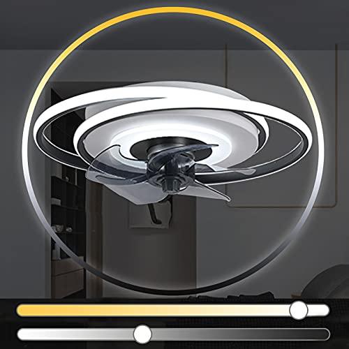 Plafon LED Ventilador Techo con Luz Lámpara Mando a Distancia Habitacion Temporizador Modernos Silencioso Redondo Ventilador de Techo con Iluminación Regulable Infantil Dormitorio Oficina Casa Cocina