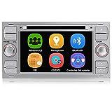AWESAFE Radio Coche 7 Pulgadas para Ford con Pantalla Táctil 2 DIN, Autoradio de Ford con Bluetooth/GPS/FM/RDS/CD DVD/USB/SD, Apoyo Mandos Volante, Mirrorlink y Aparcacimiento (Plata)
