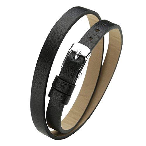 JOVIVI Leder Schmuck,Damen Leder Armband Echtleder Wickelarmband Lederarmband mit Dornschließe Verschluss,(schwarz)